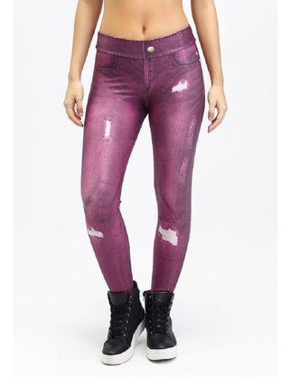 Legging Rola Moça Jeans